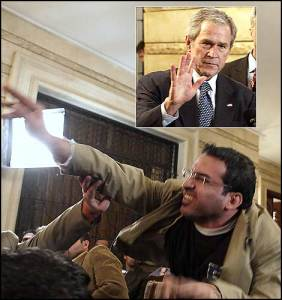 Just shoe do you think you are ... George W. Bush, inset, reacts after a journalist threw his shoes at him.